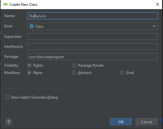 Android Studio Create New Class