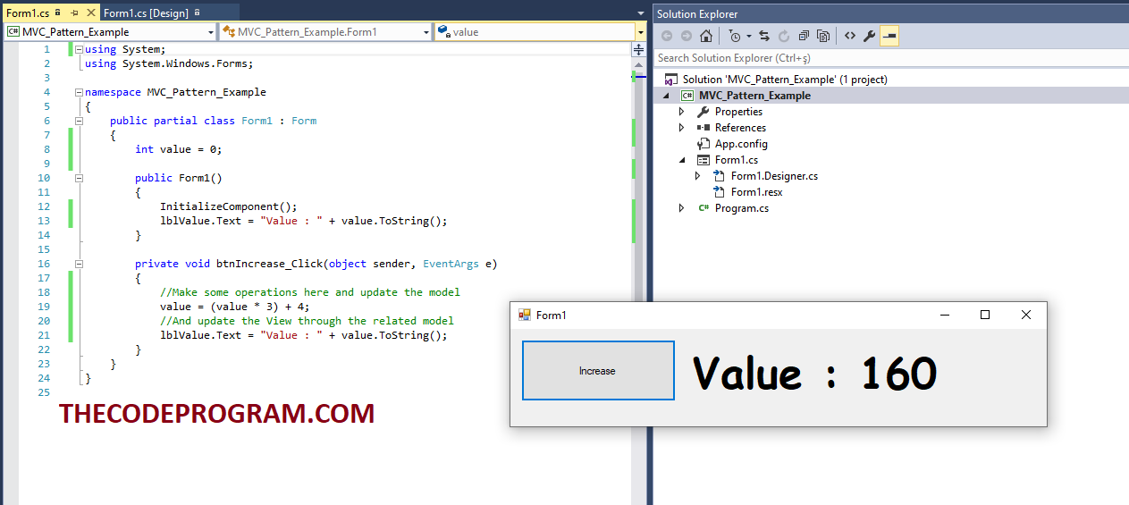 MVC Design Pattern Example Output
